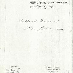 Image for K0496 - Expert opinion by Berenson, circa 1920s-1950s