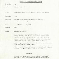 Image for K0519 - Condition and restoration record, circa 1950s-1960s