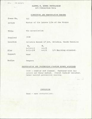 Image for K0521 - Condition and restoration record, circa 1950s-1960s