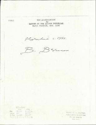 Image for K0521 - Expert opinion by Berenson, circa 1920s-1950s