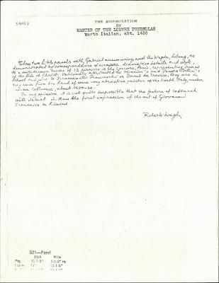 Image for K0521 - Expert opinion by Longhi, circa 1920s-1950s