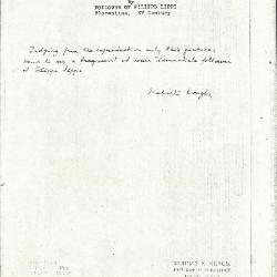 Image for K0516 - Expert opinion by Longhi, circa 1920s-1950s