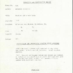 Image for K0524 - Condition and restoration record, circa 1950s-1960s