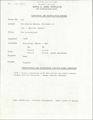 Image for K0527 - Condition and restoration record, circa 1950s-1960s