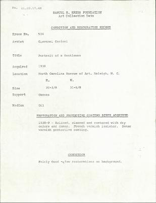 Image for K0534 - Condition and restoration record, circa 1950s-1960s