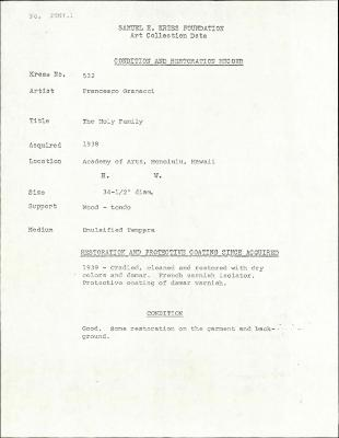 Image for K0532 - Condition and restoration record, circa 1950s-1960s