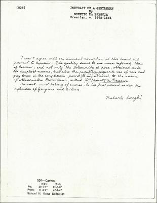 Image for K0534 - Expert opinion by Longhi, circa 1920s-1950s