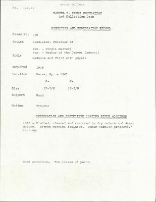 Image for K0528 - Condition and restoration record, circa 1950s-1960s