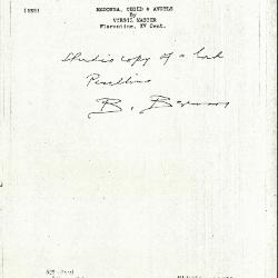 Image for K0528 - Expert opinion by Berenson, circa 1920s-1950s