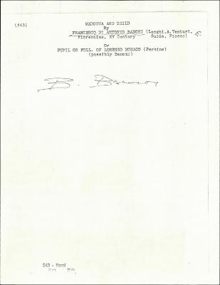 Image for K0543 - Expert opinion by Berenson, circa 1920s-1950s
