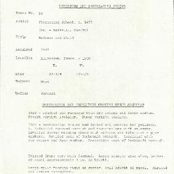 Image for K0054 - Condition and restoration record, circa 1950s-1960s