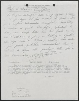 Image for K0539 - Expert opinion by A. Venturi, circa 1920s-1930s