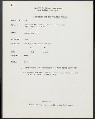 Image for K0536 - Condition and restoration record, circa 1950s-1960s