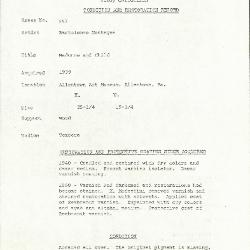 Image for K0557 - Condition and restoration record, circa 1950s-1960s