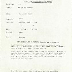 Image for K0551 - Condition and restoration record, circa 1950s-1960s