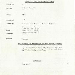 Image for K0562 - Condition and restoration record, circa 1950s-1960s