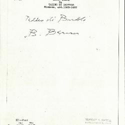 Image for K0551 - Expert opinion by Berenson, circa 1920s-1950s