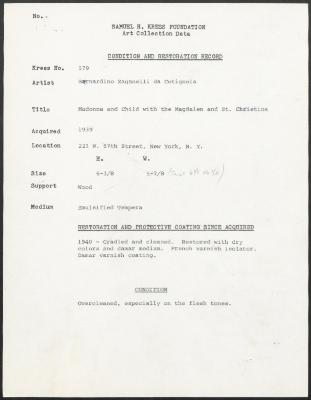 Image for K0579 - Condition and restoration record, circa 1950s-1960s