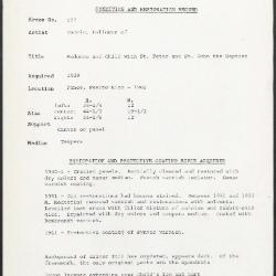 Image for K0577 - Condition and restoration record, circa 1950s-1960s