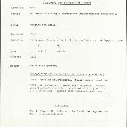 Image for K0578 - Condition and restoration record, circa 1950s-1960s