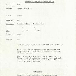 Image for K0593 - Condition and restoration record, circa 1950s-1960s