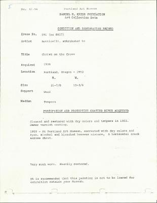 Image for K0591 - Condition and restoration record, circa 1950s-1960s