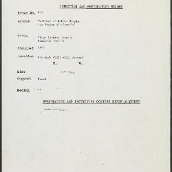 Image for K0615 - Condition and restoration record, circa 1950s-1960s