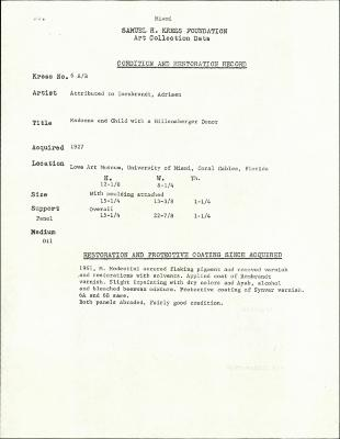 Image for K0006A - Condition and restoration record, circa 1950s-1960s