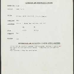 Image for K0604 - Condition and restoration record, circa 1950s-1960s