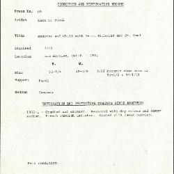 Image for K0069 - Condition and restoration record, circa 1950s-1960s