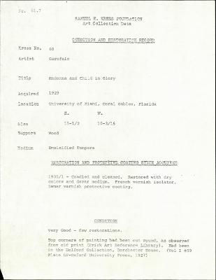 Image for K0060 - Condition and restoration record, circa 1950s-1960s