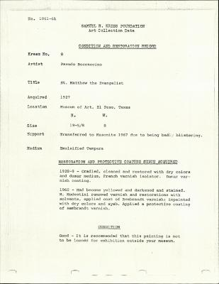 Image for K0008 - Condition and restoration record, circa 1950s-1960s