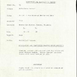 Image for K0070 - Condition and restoration record, circa 1950s-1960s