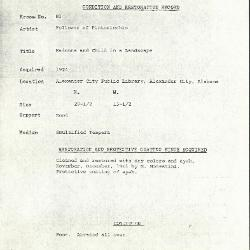 Image for K0081 - Condition and restoration record, circa 1950s-1960s