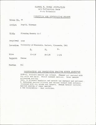 Image for K0089 - Condition and restoration record, circa 1950s-1960s