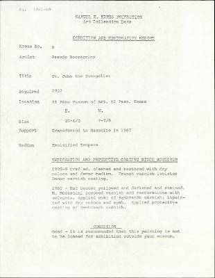 Image for K0009 - Condition and restoration record, circa 1950s-1960s