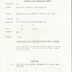 Image for K0080 - Condition and restoration record, circa 1950s-1960s