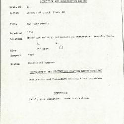 Image for K0099 - Condition and restoration record, circa 1950s-1960s