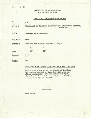 Image for K00X3 - Condition and restoration record, circa 1950s-1960s