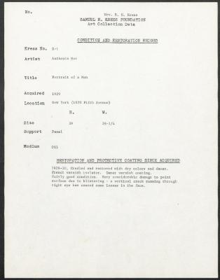 Image for K00X1 - Condition and restoration record, circa 1950s-1960s