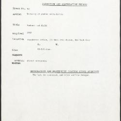 Image for K0092 - Condition and restoration record, circa 1950s-1960s