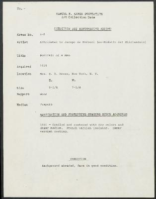 Image for K00X8 - Condition and restoration record, circa 1950s-1960s