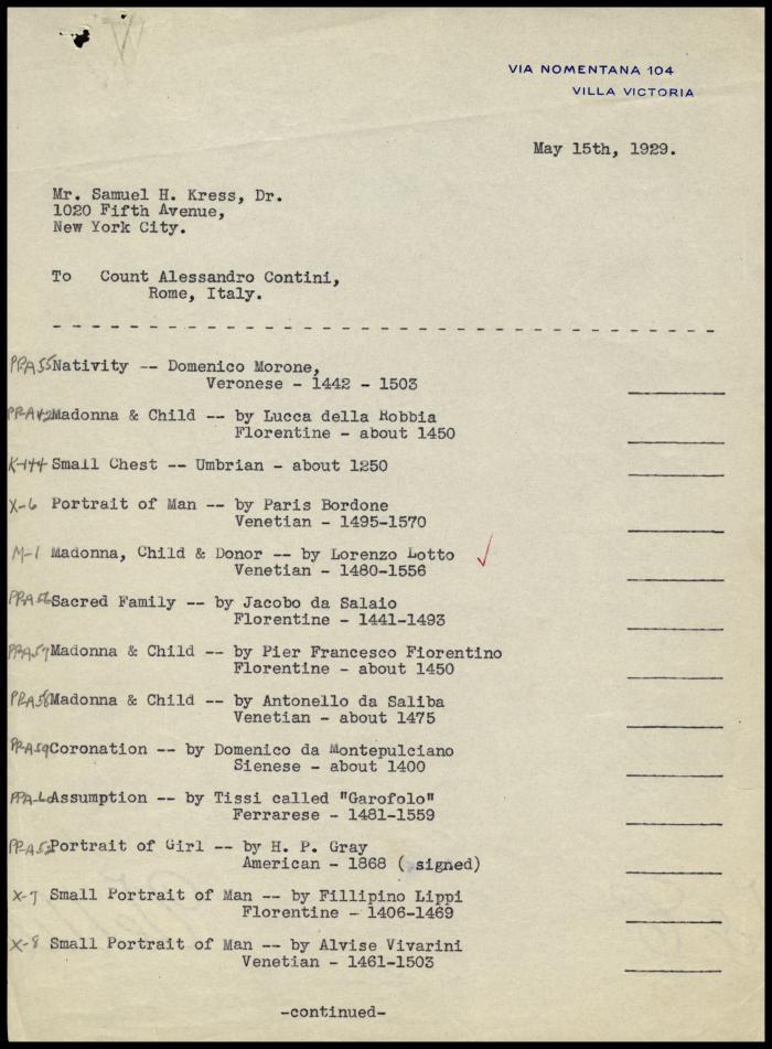 Image for Contini Bonacossi, Alessandro, May 15, 1929