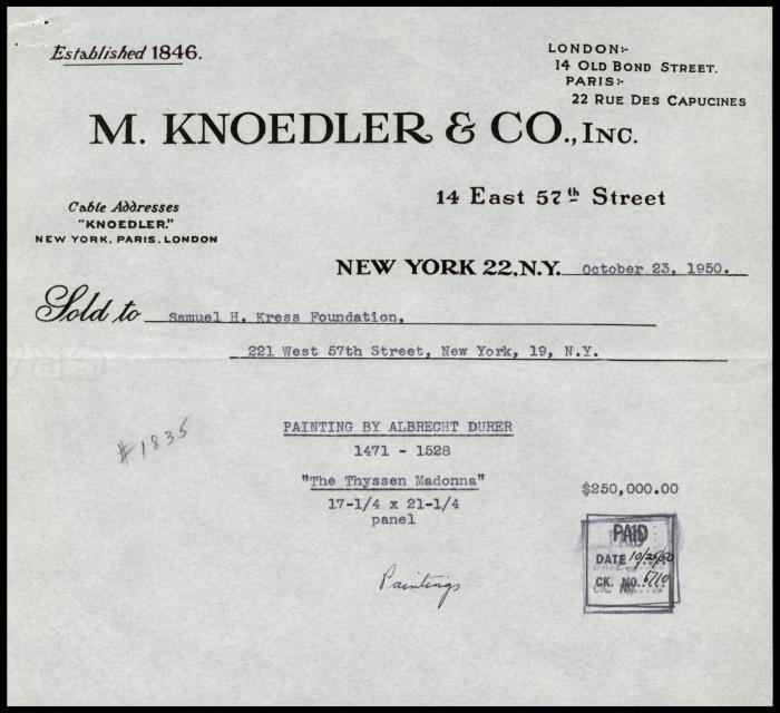 Image for M. Knoedler & Co., October 23, 1950