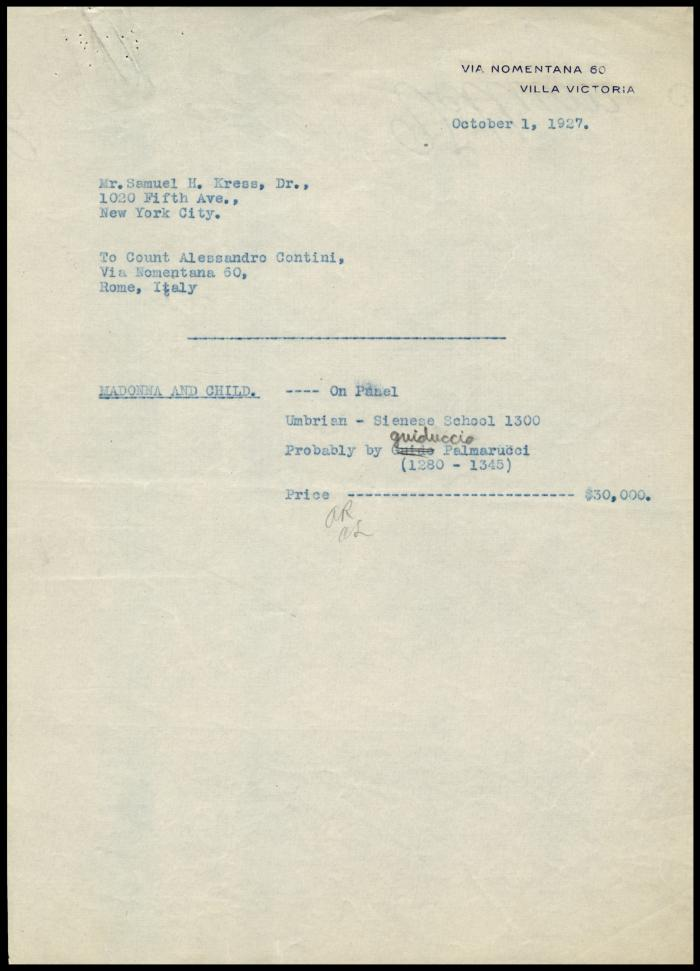 Image for Contini Bonacossi, Alessandro, October 5, 1927