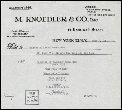 Image for M. Knoedler & Co., June 7, 1951