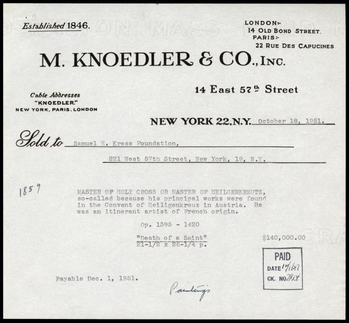 Image for M. Knoedler & Co., October 18, 1951
