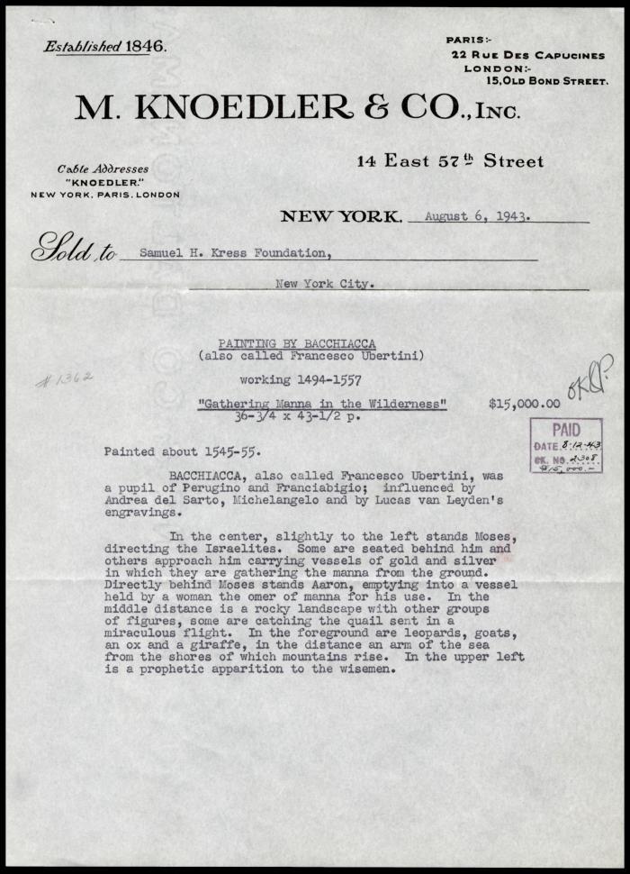 Image for M. Knoedler & Co., August 6, 1943