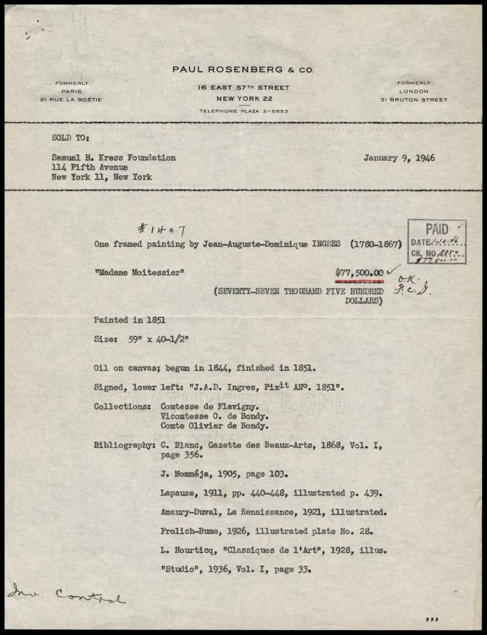 Image for Paul Rosenberg & Co., January 9, 1946