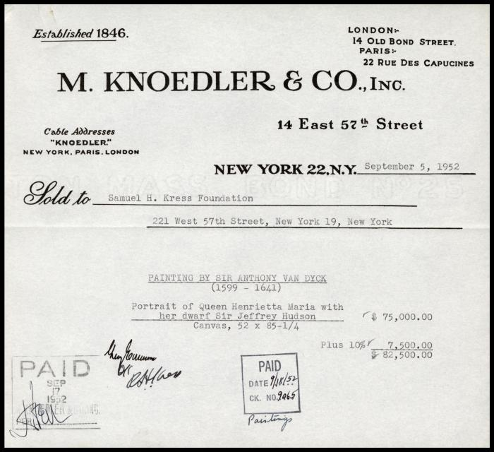 Image for M. Knoedler & Co., September 5, 1952